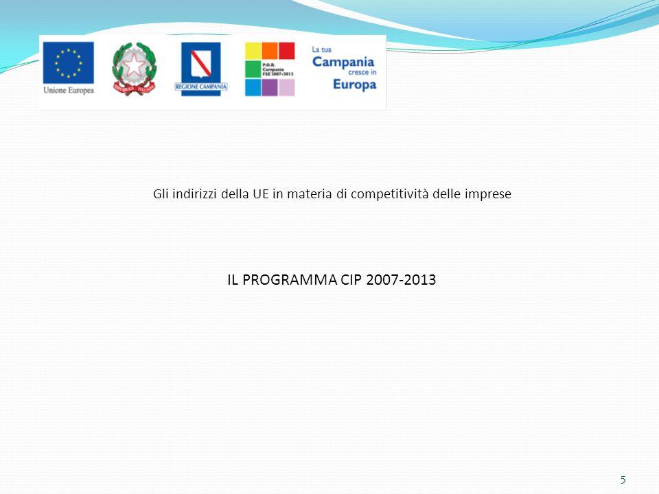Gli indirizzi della UE in materia di competitività delle imprese IL PROGRAMMA CIP 2007-2013 5