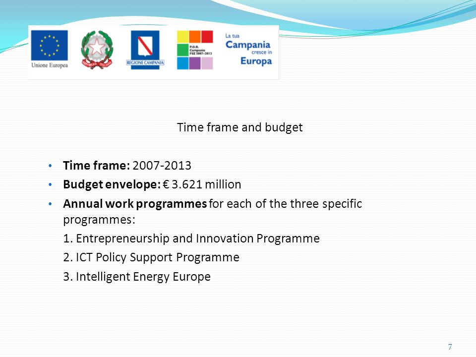 Time frame and budget Time frame: 2007-2013 Budget envelope: 3.621 million Annual work programmes for each of the three specific programmes: 1. Entrep