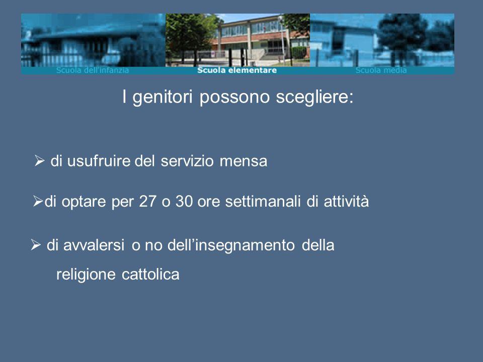 I genitori possono scegliere: di usufruire del servizio mensa di avvalersi o no dellinsegnamento della religione cattolica di optare per 27 o 30 ore settimanali di attività