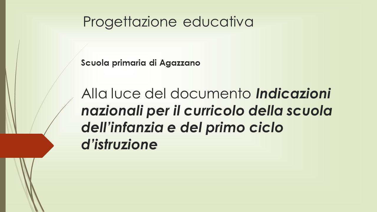 Progettazione educativa Scuola primaria di Agazzano Alla luce del documento Indicazioni nazionali per il curricolo della scuola dellinfanzia e del pri