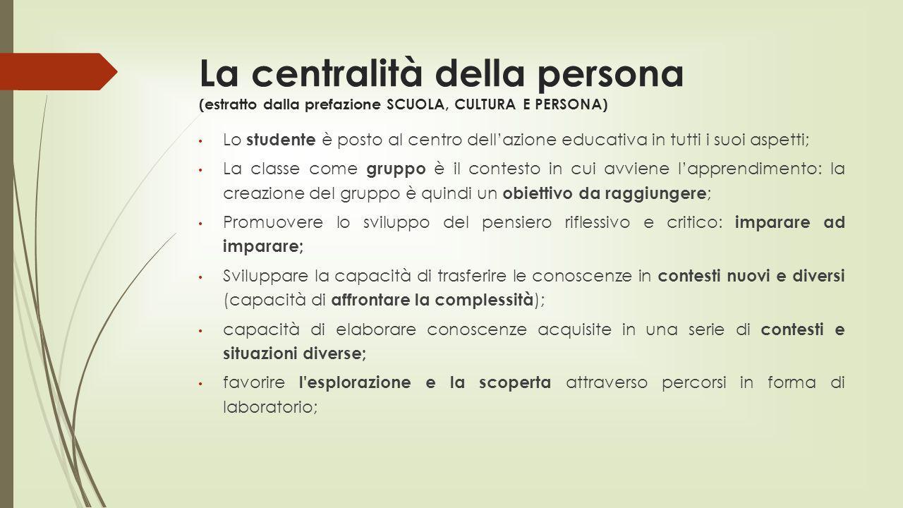 La centralità della persona (estratto dalla prefazione SCUOLA, CULTURA E PERSONA) Lo studente è posto al centro dellazione educativa in tutti i suoi a