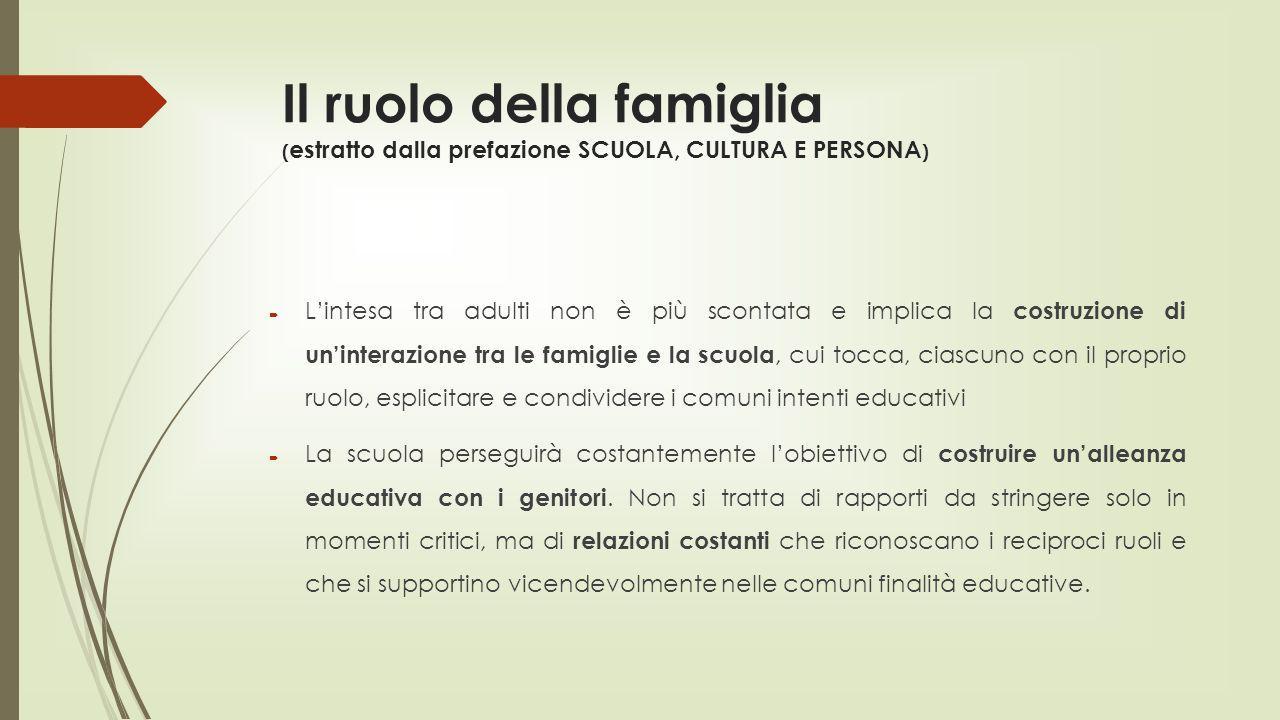 Il ruolo della famiglia ( estratto dalla prefazione SCUOLA, CULTURA E PERSONA ) Lintesa tra adulti non è più scontata e implica la costruzione di unin