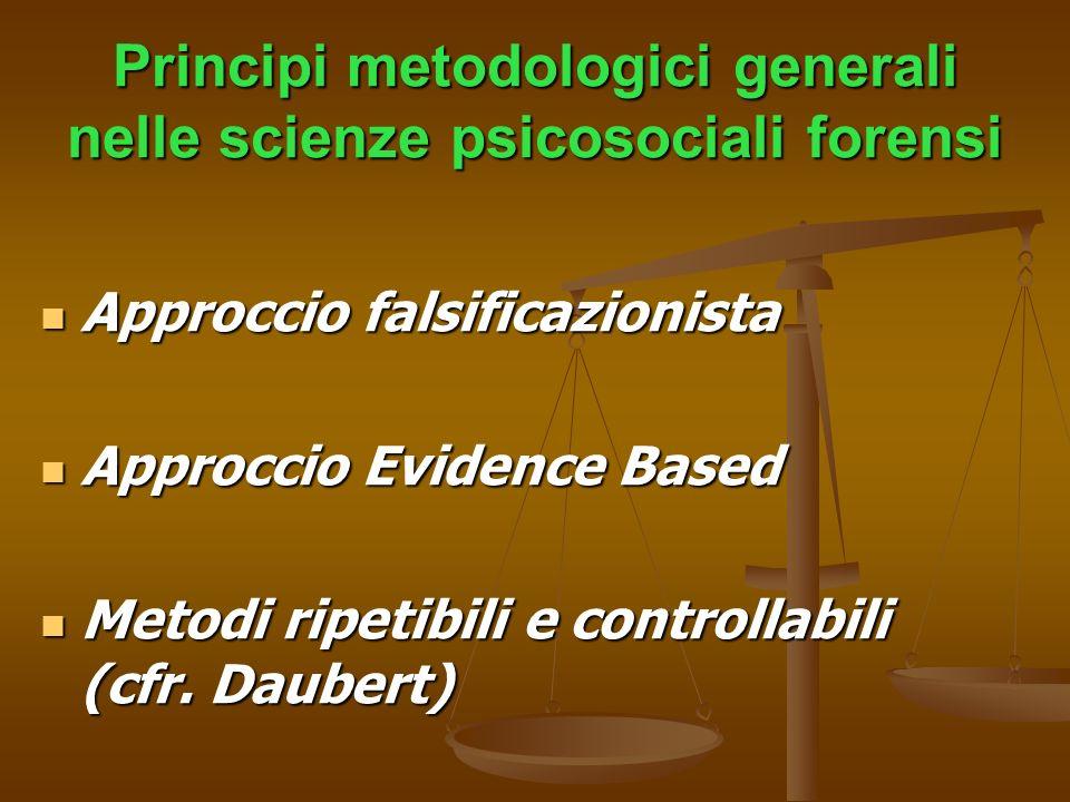 Principi metodologici generali nelle scienze psicosociali forensi Approccio falsificazionista Approccio falsificazionista Approccio Evidence Based App