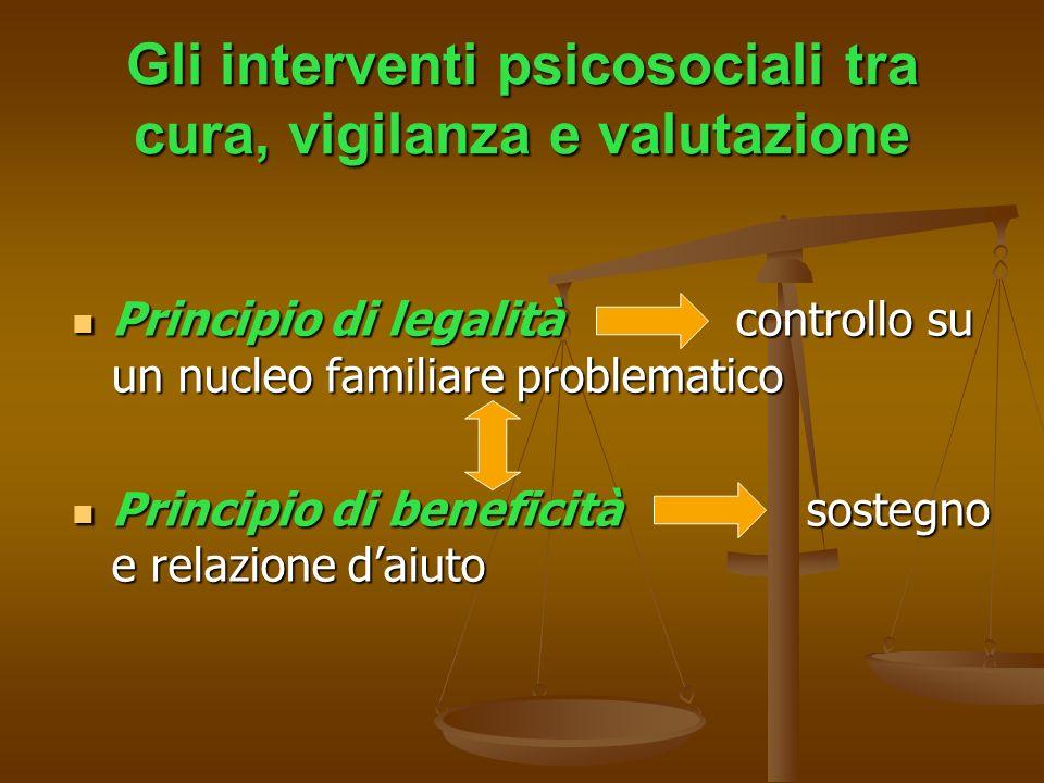Gli interventi psicosociali tra cura, vigilanza e valutazione Principio di legalità controllo su un nucleo familiare problematico Principio di legalit
