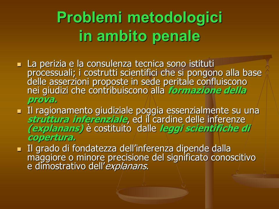 Problemi metodologici in ambito penale La perizia e la consulenza tecnica sono istituti processuali; i costrutti scientifici che si pongono alla base