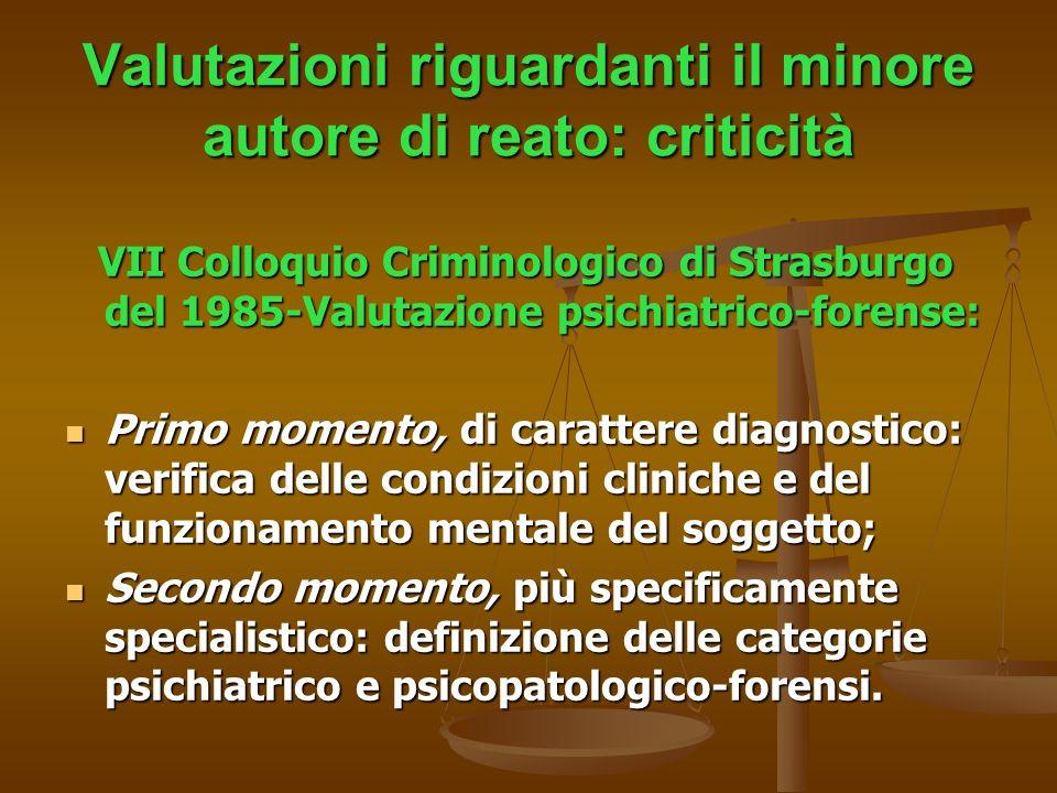 Valutazioni riguardanti il minore autore di reato: criticità VII Colloquio Criminologico di Strasburgo del 1985-Valutazione psichiatrico-forense: VII