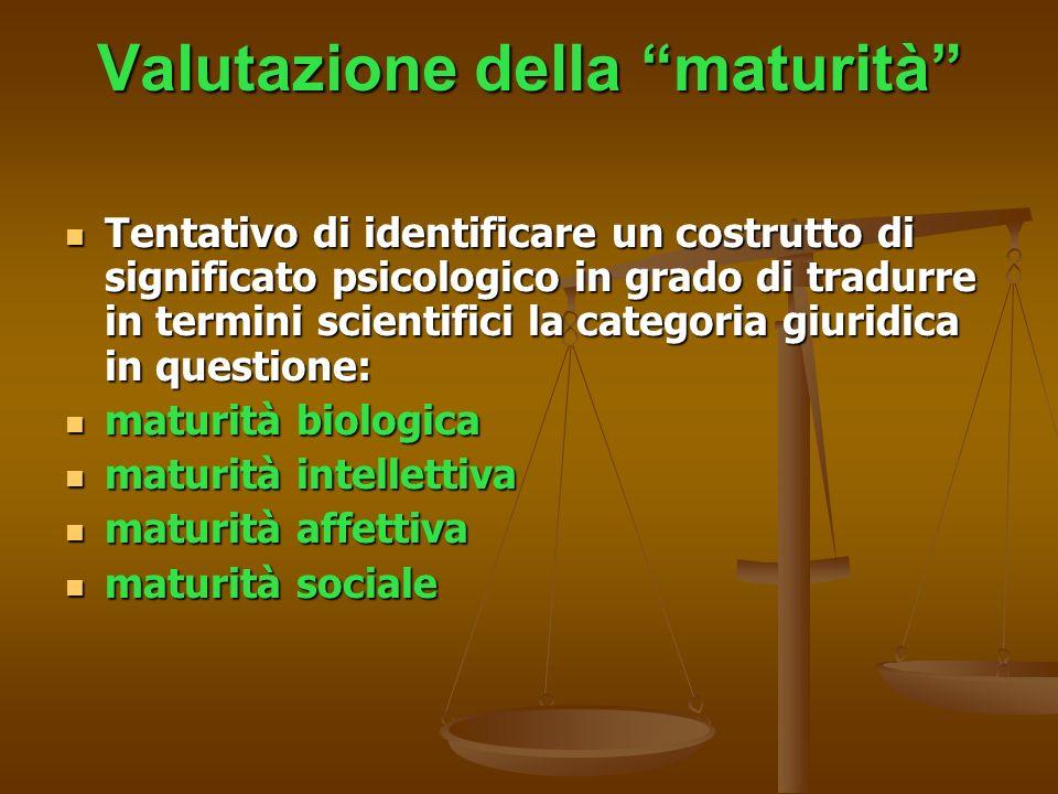 Valutazione della maturità Tentativo di identificare un costrutto di significato psicologico in grado di tradurre in termini scientifici la categoria