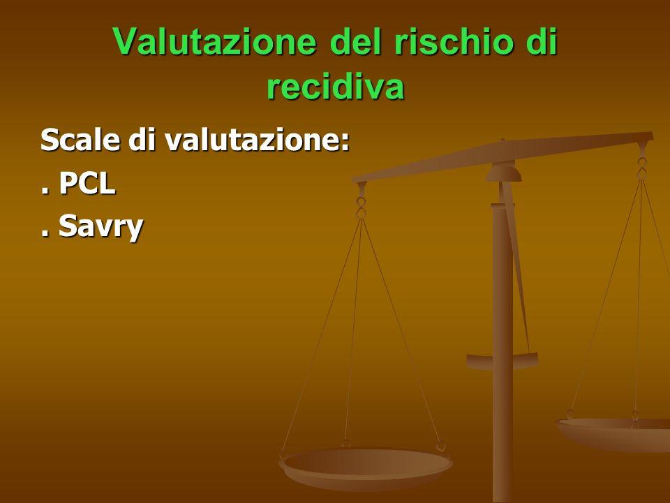 Valutazione del rischio di recidiva Scale di valutazione:. PCL. Savry