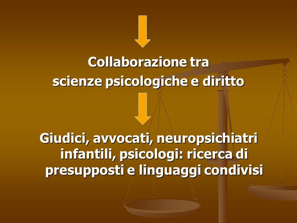 Collaborazione tra scienze psicologiche e diritto Giudici, avvocati, neuropsichiatri infantili, psicologi: ricerca di presupposti e linguaggi condivis