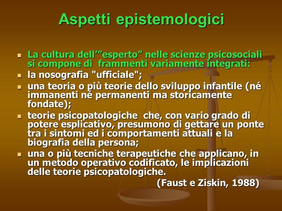 Aspetti epistemologici La cultura dellesperto nelle scienze psicosociali si compone di frammenti variamente integrati: La cultura dellesperto nelle sc