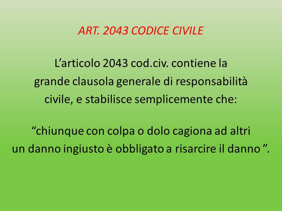 ART. 2043 CODICE CIVILE Larticolo 2043 cod.civ. contiene la grande clausola generale di responsabilità civile, e stabilisce semplicemente che: chiunqu