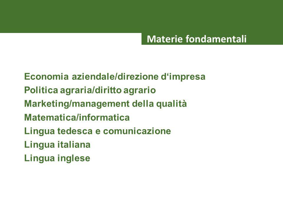 Economia aziendale/direzione dimpresa Politica agraria/diritto agrario Marketing/management della qualità Matematica/informatica Lingua tedesca e comu