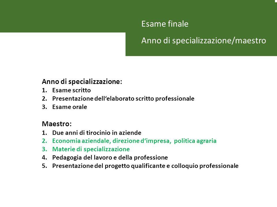 Esame finale Anno di specializzazione/maestro Anno di specializzazione: 1.Esame scritto 2.Presentazione dellelaborato scritto professionale 3.Esame or