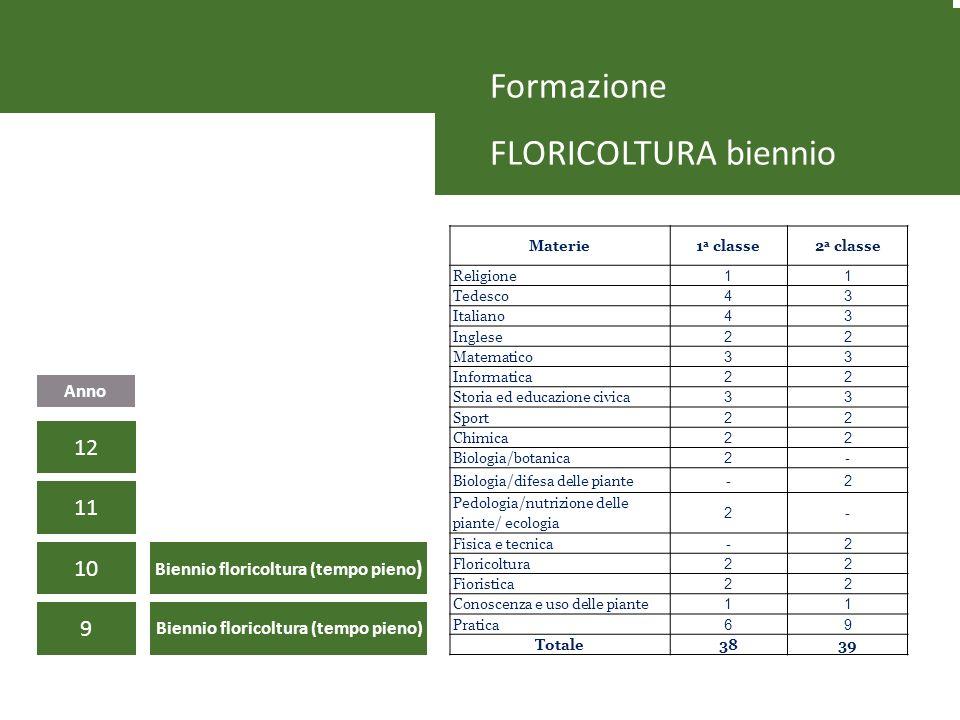 Formazione FLORICOLTURA biennio 9 10 11 Anno 12 Biennio floricoltura (tempo pieno) Materie1 a classe2 a classe Religione 11 Tedesco 43 Italiano 43 Ing