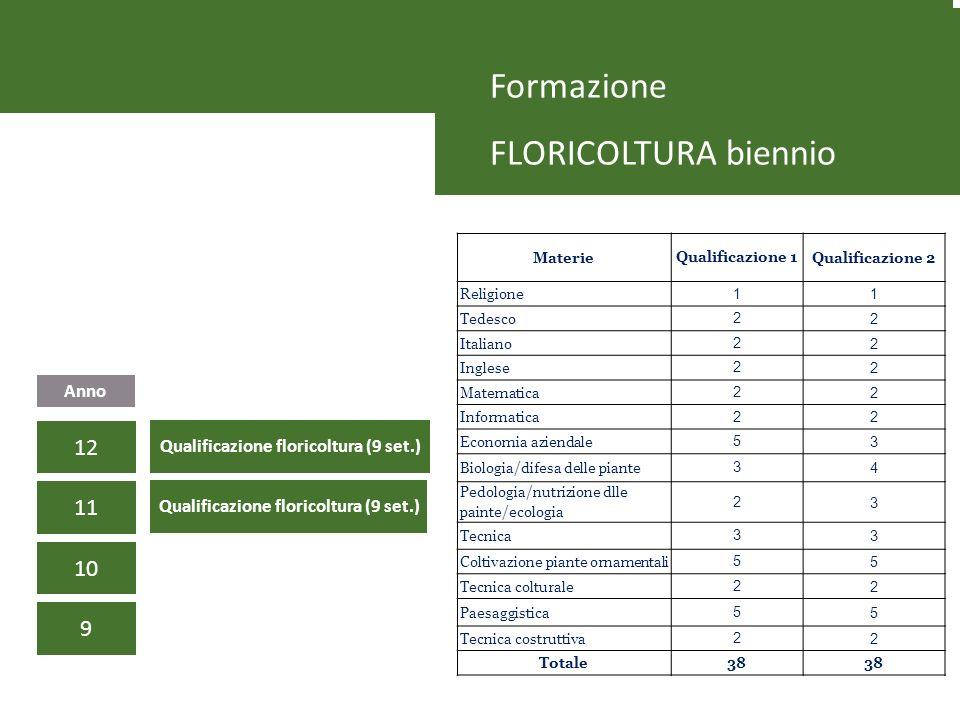 Formazione FLORICOLTURA biennio 9 10 11 Anno 12 Qualificazione floricoltura (9 set.) MaterieQualificazione 1Qualificazione 2 Religione 11 Tedesco 22 I