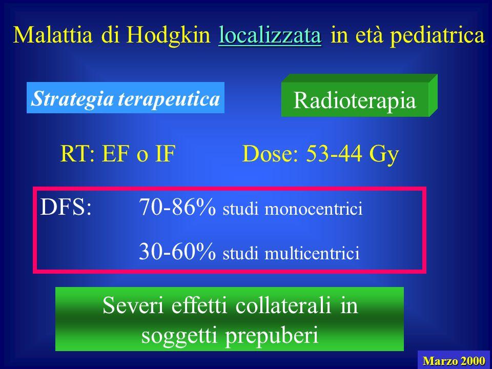 localizzata Malattia di Hodgkin localizzata in età pediatrica Radioterapia Strategia terapeutica RT: EF o IFDose: 53-44 Gy DFS:70-86% studi monocentrici 30-60% studi multicentrici Severi effetti collaterali in soggetti prepuberi Marzo 2000