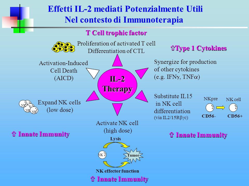IL-15 Therapy Proliferation of activated T cell Differentiation of CTL Synergize for production of other cytokines (e.g.