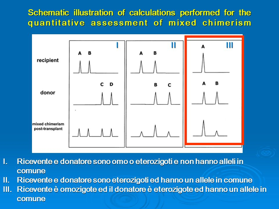 Schematic illustration of calculations performed for the quantitative assessment of mixed chimerism IIIIII I.Ricevente e donatore sono omo o eterozigo