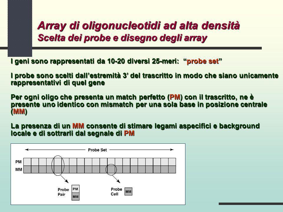 Array di oligonucleotidi ad alta densità Scelta dei probe e disegno degli array I geni sono rappresentati da 10-20 diversi 25-meri: probe set I probe