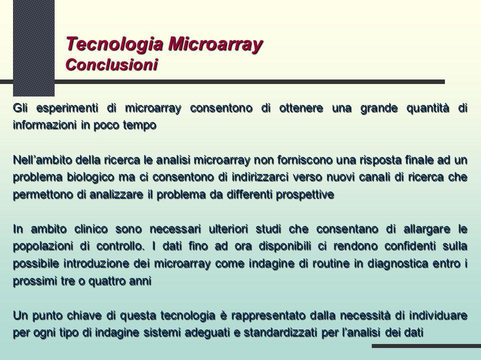 Gli esperimenti di microarray consentono di ottenere una grande quantità di informazioni in poco tempo Nellambito della ricerca le analisi microarray