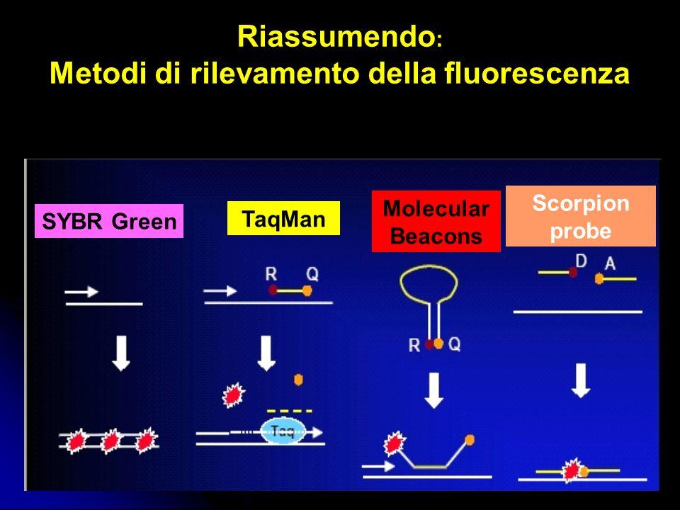 Riassumendo : Metodi di rilevamento della fluorescenza SYBR Green TaqMan Molecular Beacons Scorpion probe