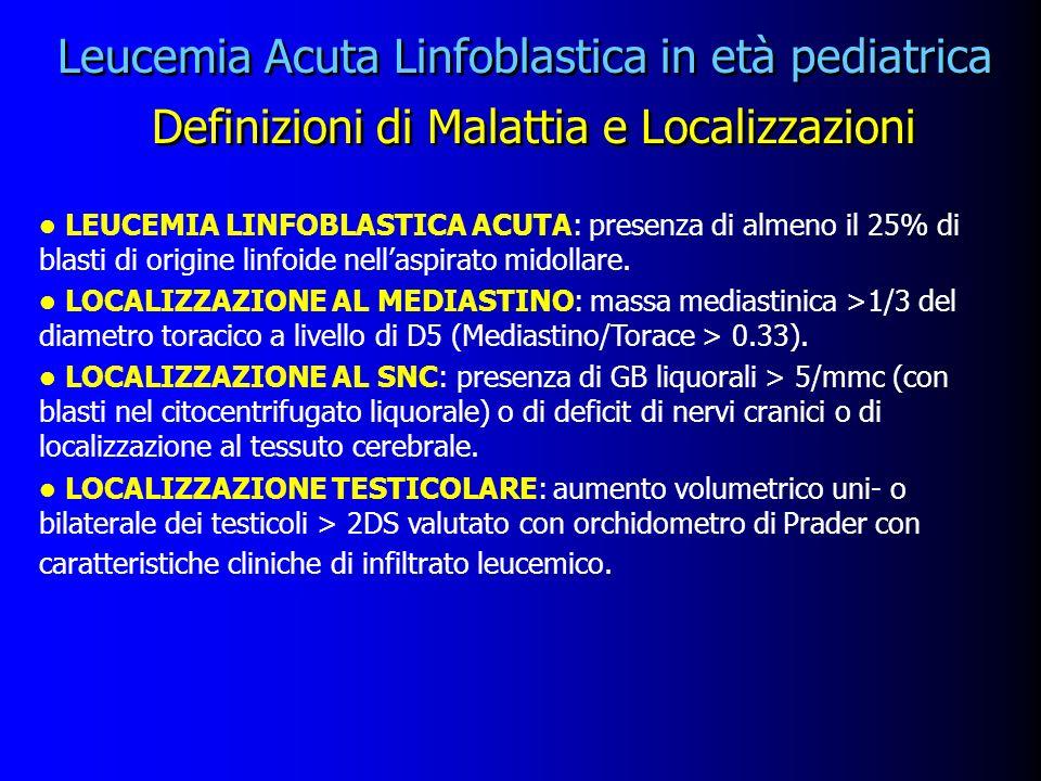 Leucemia Acuta Linfoblastica in età pediatrica Definizioni di Malattia e Localizzazioni l LEUCEMIA LINFOBLASTICA ACUTA: presenza di almeno il 25% di b