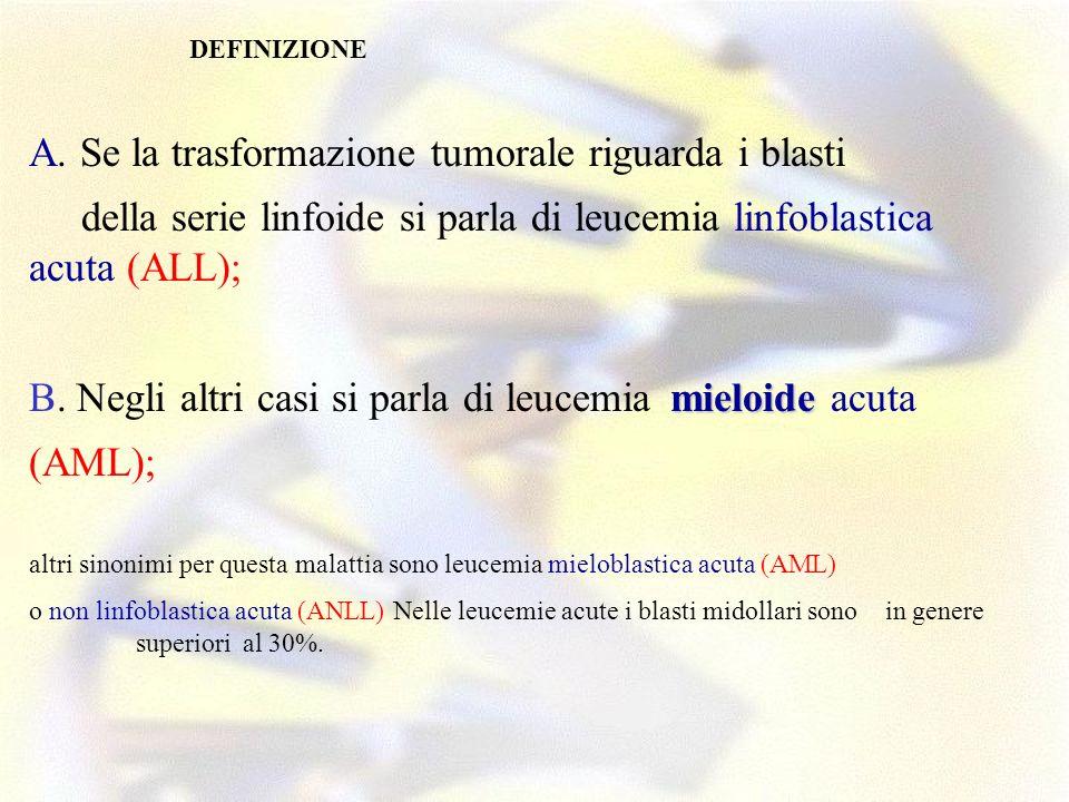 CLASSIFICAZIONE DELLE MALATTIE NEOPLASTICHE DEL TESSUTO EMOPOIETICO E LINFOIDE World Health Organization - 1997 NEOPLASIE MIELOIDI Malattie mieloproliferative Leucemia Mieloide Cronica, cromosoma Philadelphia positiva [t(9;22)(q34;q11), bcr/abl] Leucemia cronica neutrofilica Leucemia cronica eosinofilica / sindrome ipereosinofila MieloFibrosi Idiopatica cronica Policitemia Vera Trombocitemia Essenziale Malattia mieloproliferativa non classificata Malattie mielodisplastiche / mieloproliferative Leucemia MieloMonocitica Cronica Leucemia mieloide cronica atipica Leucemia mielomonocitica giovanile Sindromi mielodisplastiche Anemia Refrattaria con sideroblasti ad anello senza sideroblasti ad anello Citopenia refrattaria (sindrome mielodisplastica) con displasia multilineare Anemia Refrattaria (sindrome mielodisplastica) con Eccesso di Blasti Sindrome 5q- Sindrome MieloDisplastica non classificata Leucemie Acute Mieloidi LAM con traslocazioni citogenetiche ricorrenti: LAM con t(8;21)(q22;q22), aml1(cbf )/eto LA Promielocitica [LAM con t(15;17)(q22;q21) e var, pml/rar ] LAM con eos.