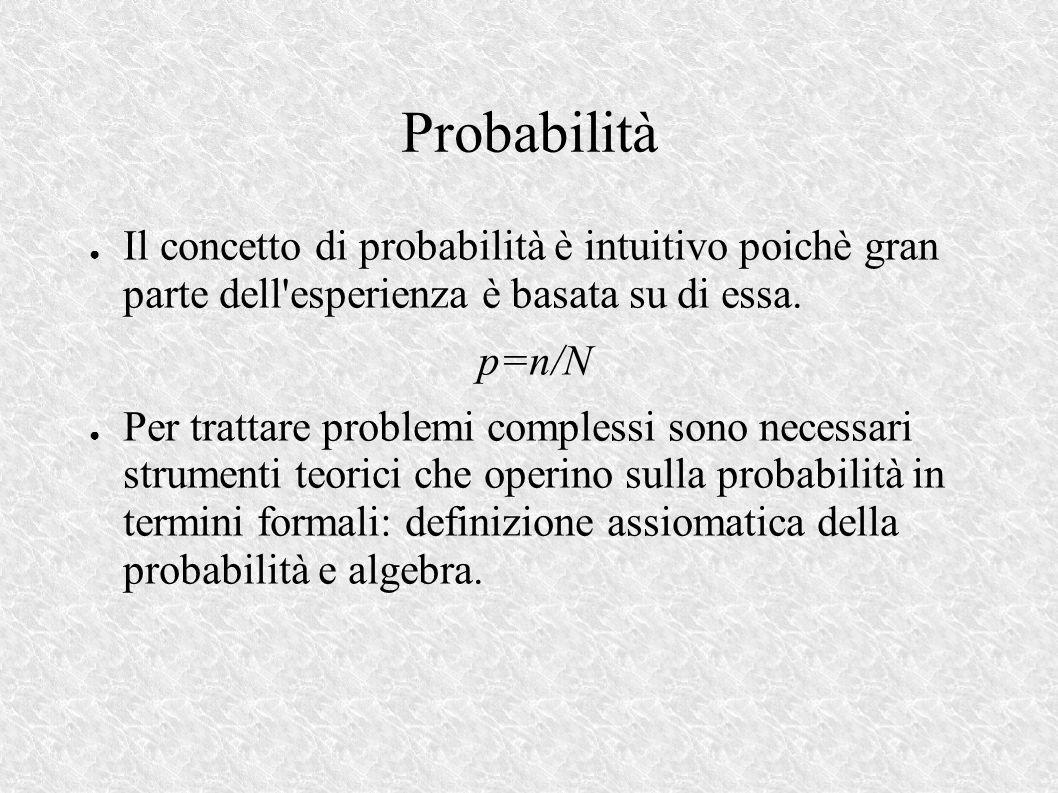 Probabilità Il concetto di probabilità è intuitivo poichè gran parte dell esperienza è basata su di essa.