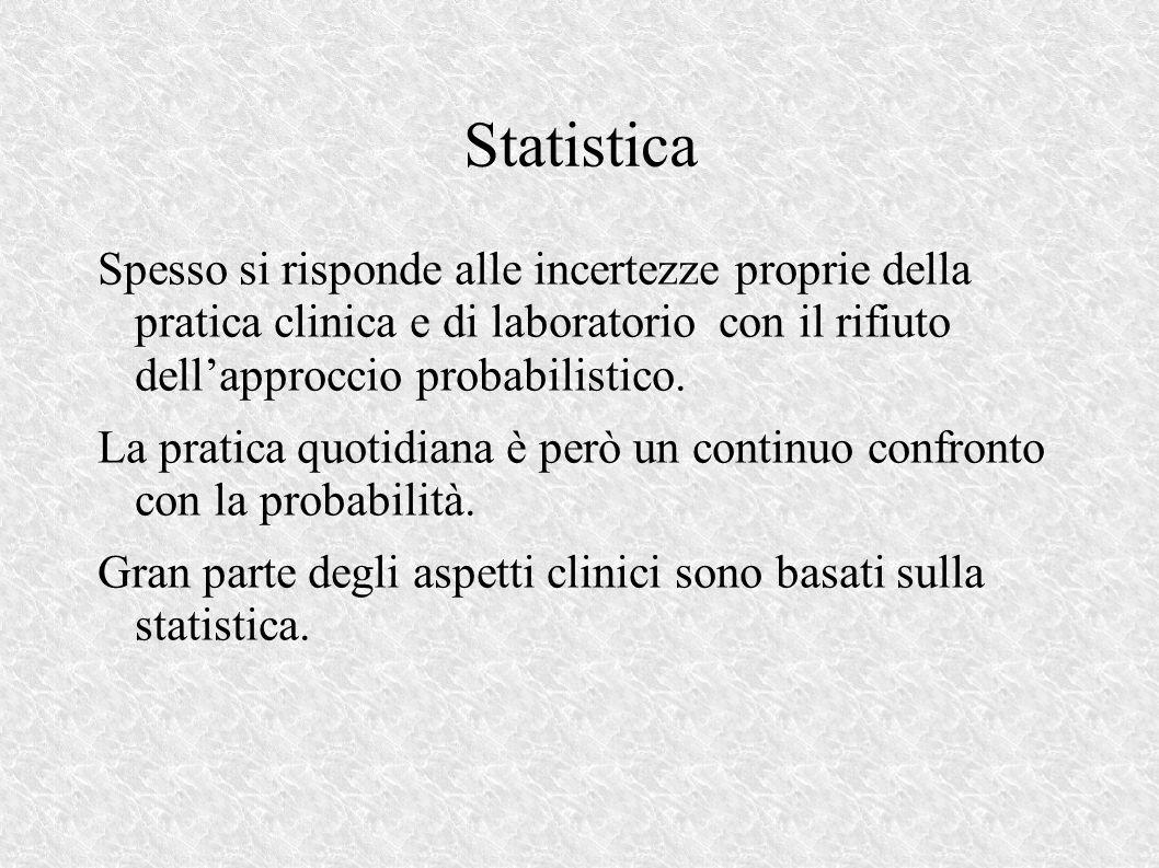 Statistica Spesso si risponde alle incertezze proprie della pratica clinica e di laboratorio con il rifiuto dellapproccio probabilistico.