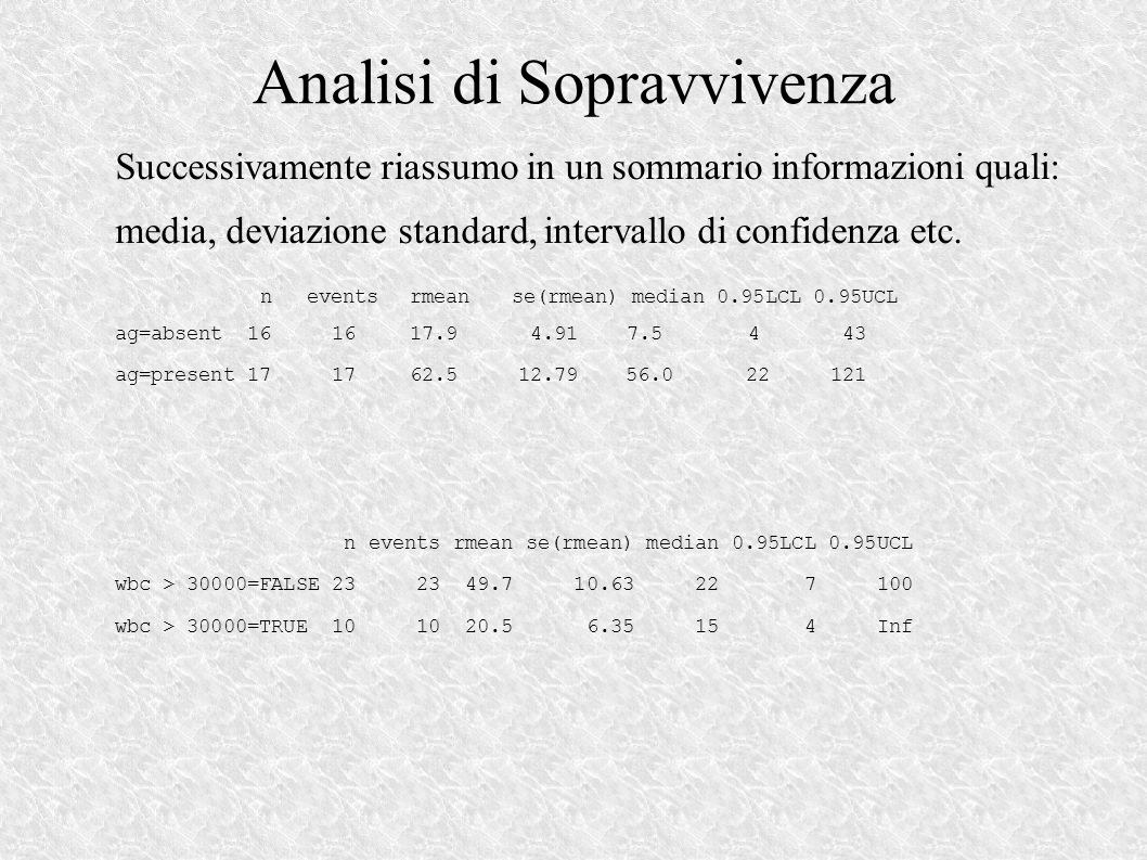 Analisi di Sopravvivenza Successivamente riassumo in un sommario informazioni quali: media, deviazione standard, intervallo di confidenza etc.