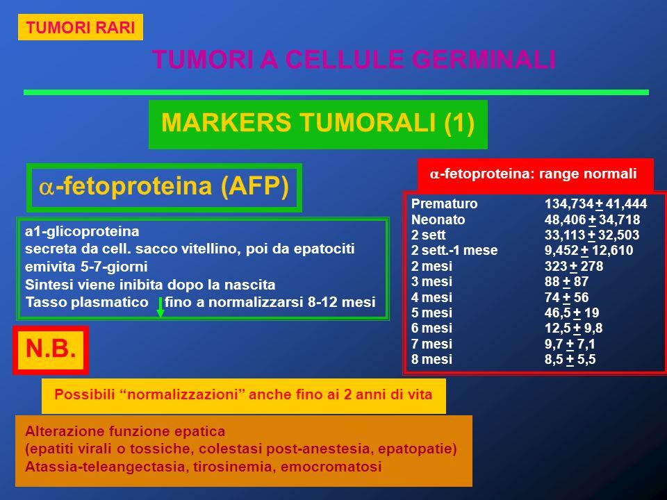 TUMORI A CELLULE GERMINALI TUMORI RARI MARKERS TUMORALI (1) -fetoproteina (AFP) a1-glicoproteina secreta da cell. sacco vitellino, poi da epatociti em