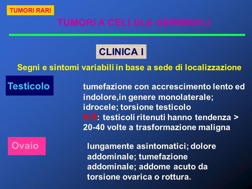 TUMORI A CELLULE GERMINALI TUMORI RARI CLINICA I Segni e sintomi variabili in base a sede di localizzazione Testicolo tumefazione con accrescimento le