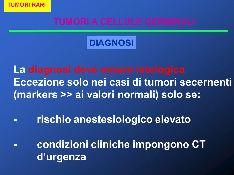 TUMORI A CELLULE GERMINALI TUMORI RARI DIAGNOSI La diagnosi deve essere istologica Eccezione solo nei casi di tumori secernenti (markers >> ai valori