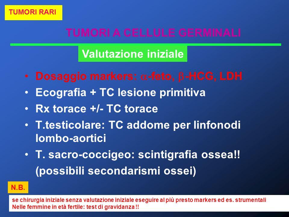 TUMORI A CELLULE GERMINALI TUMORI RARI Valutazione iniziale Dosaggio markers: -feto, -HCG, LDH Ecografia + TC lesione primitiva Rx torace +/- TC torac