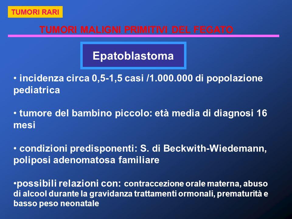 TUMORI MALIGNI PRIMITIVI DEL FEGATO TUMORI RARI Epatoblastoma incidenza circa 0,5-1,5 casi /1.000.000 di popolazione pediatrica tumore del bambino pic