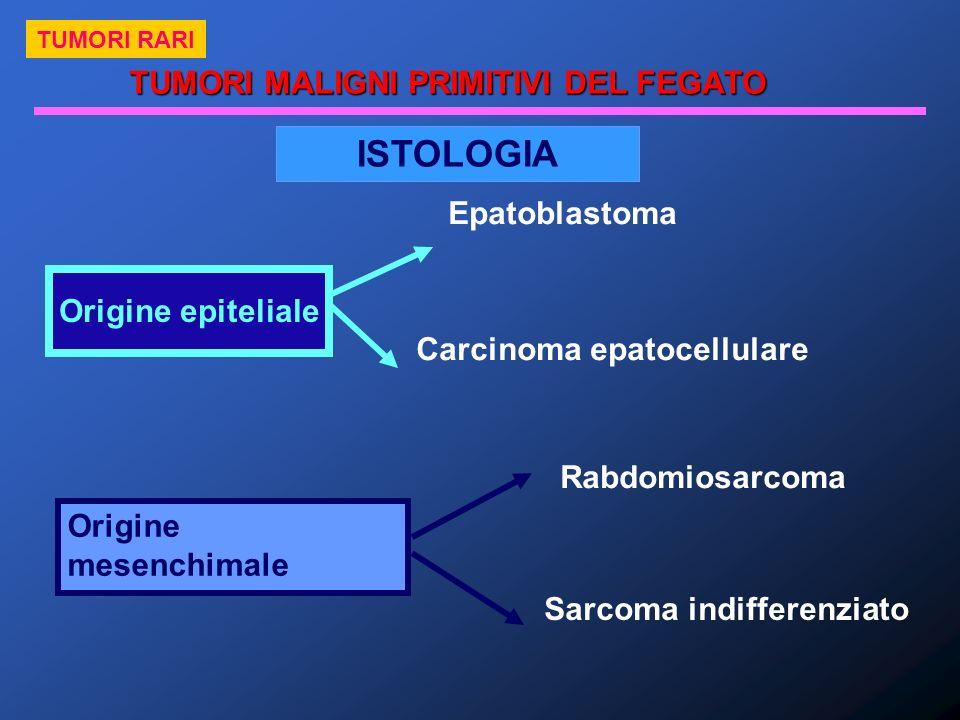 ISTOLOGIA Origine epiteliale Epatoblastoma Carcinoma epatocellulare Origine mesenchimale Rabdomiosarcoma Sarcoma indifferenziato TUMORI MALIGNI PRIMIT