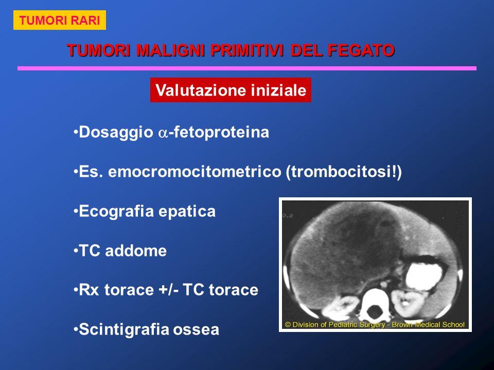 TUMORI MALIGNI PRIMITIVI DEL FEGATO TUMORI RARI Valutazione iniziale Dosaggio -fetoproteina Es. emocromocitometrico (trombocitosi!) Ecografia epatica