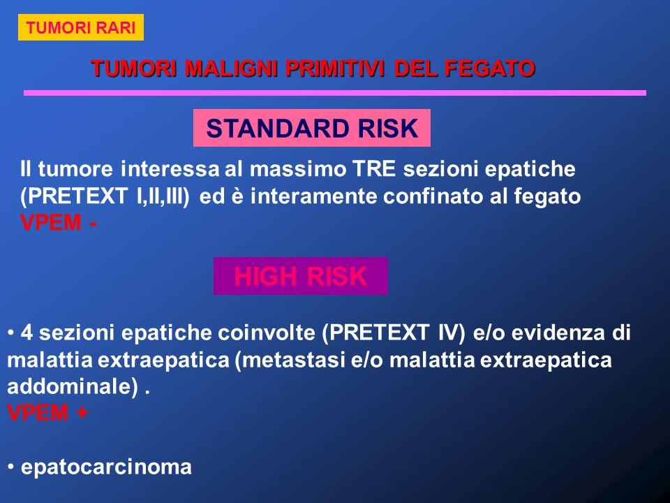 STANDARD RISK Il tumore interessa al massimo TRE sezioni epatiche (PRETEXT I,II,III) ed è interamente confinato al fegato VPEM - HIGH RISK 4 sezioni e