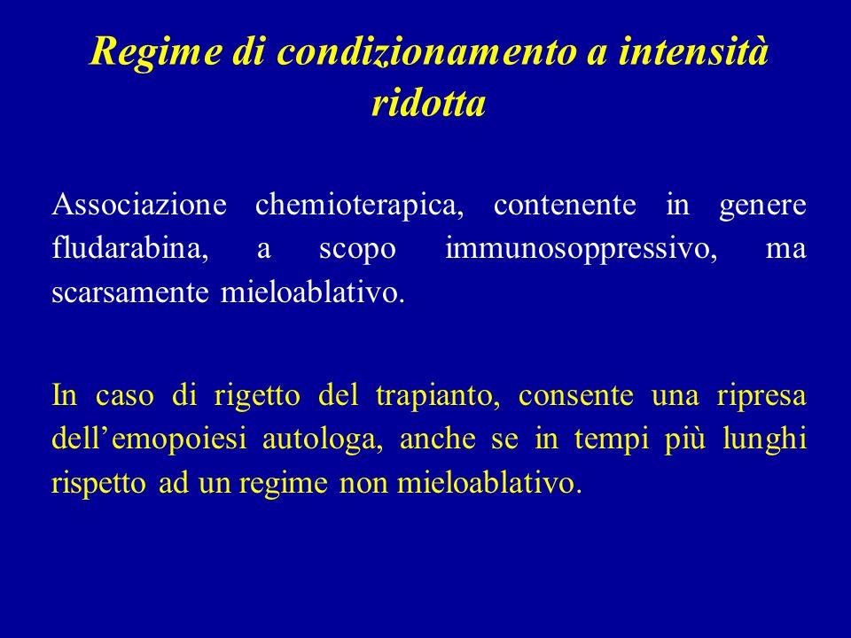 Regime di condizionamento a intensità ridotta Associazione chemioterapica, contenente in genere fludarabina, a scopo immunosoppressivo, ma scarsamente mieloablativo.