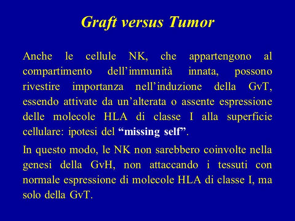 Graft versus Tumor Anche le cellule NK, che appartengono al compartimento dellimmunità innata, possono rivestire importanza nellinduzione della GvT, essendo attivate da unalterata o assente espressione delle molecole HLA di classe I alla superficie cellulare: ipotesi del missing self.