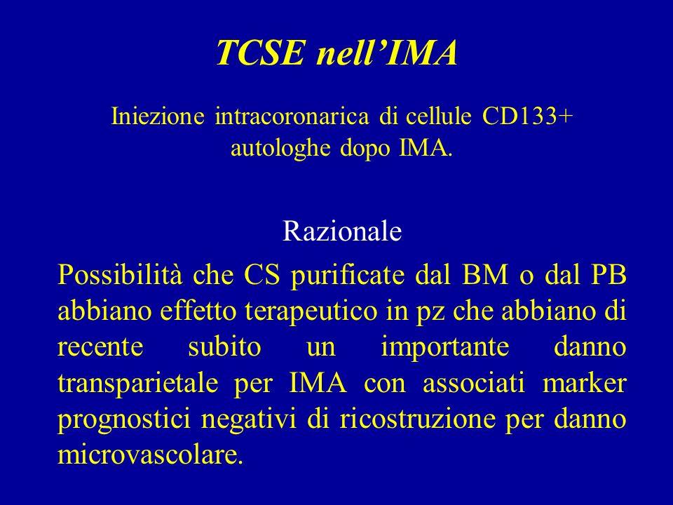 TCSE nellIMA Iniezione intracoronarica di cellule CD133+ autologhe dopo IMA.