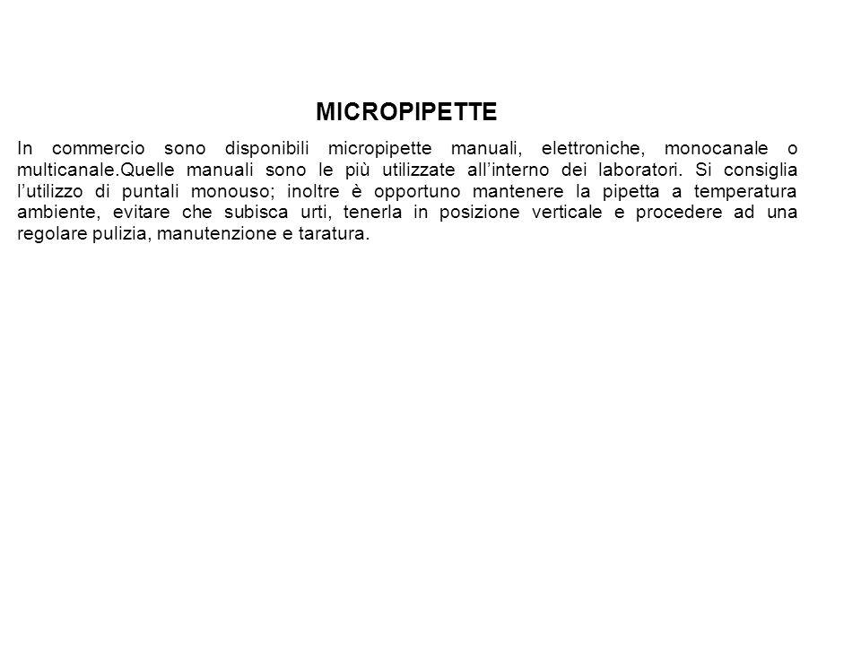 MICROPIPETTE In commercio sono disponibili micropipette manuali, elettroniche, monocanale o multicanale.Quelle manuali sono le più utilizzate allinterno dei laboratori.