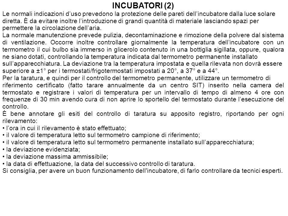INCUBATORI (2) Le normali indicazioni duso prevedono la protezione delle pareti dellincubatore dalla luce solare diretta.