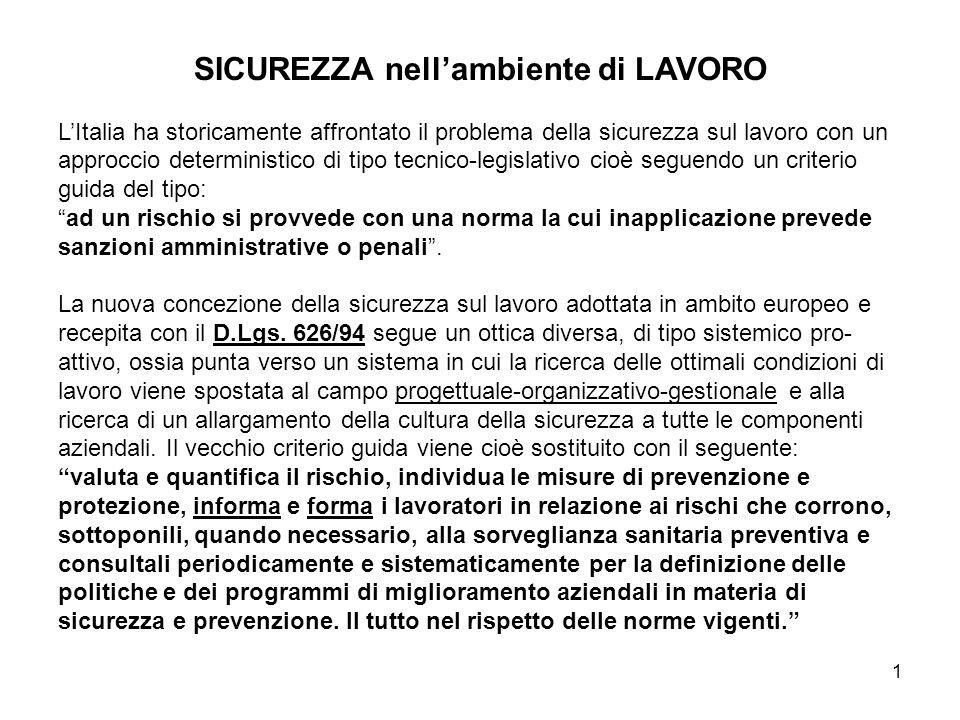 1 SICUREZZA nellambiente di LAVORO LItalia ha storicamente affrontato il problema della sicurezza sul lavoro con un approccio deterministico di tipo t