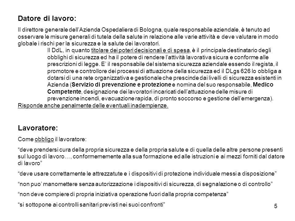 5 Datore di lavoro: Il direttore generale dellAzienda Ospedaliera di Bologna, quale responsabile aziendale, è tenuto ad osservare le misure generali d