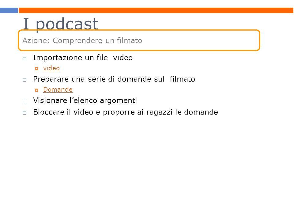 I podcast Importazione un file video video Preparare una serie di domande sul filmato Domande Visionare lelenco argomenti Bloccare il video e proporre
