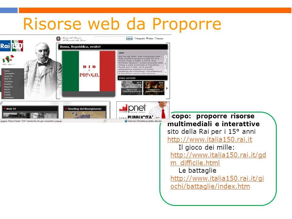 Scopo: proporre risorse multimediali e interattive sito della Rai per i 15° anni http://www.italia150.rai.it http://www.italia150.rai.it Il gioco dei