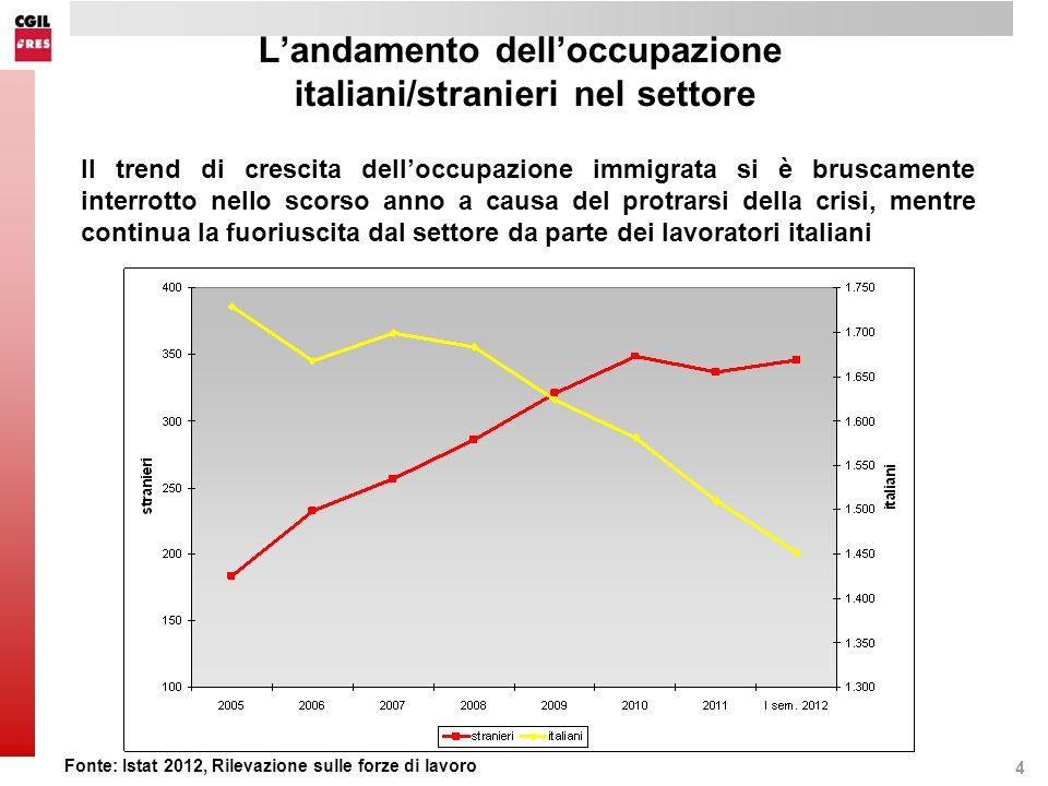 4 Landamento delloccupazione italiani/stranieri nel settore Il trend di crescita delloccupazione immigrata si è bruscamente interrotto nello scorso anno a causa del protrarsi della crisi, mentre continua la fuoriuscita dal settore da parte dei lavoratori italiani Fonte: Istat 2012, Rilevazione sulle forze di lavoro