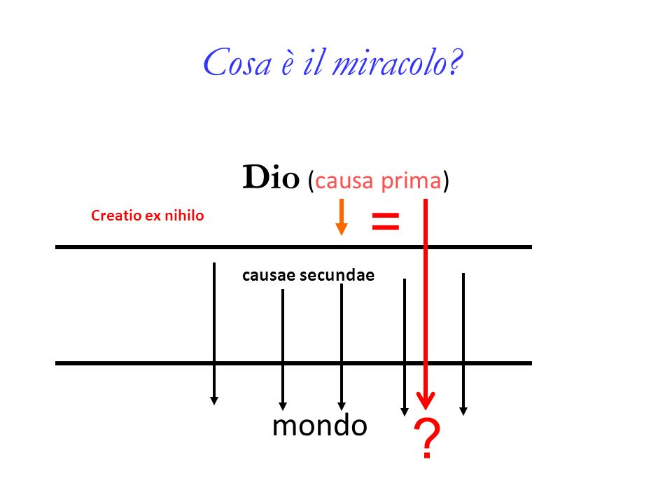 Cosa è il miracolo? Dio (causa prima) causae secundae mondo Creatio ex nihilo ? =