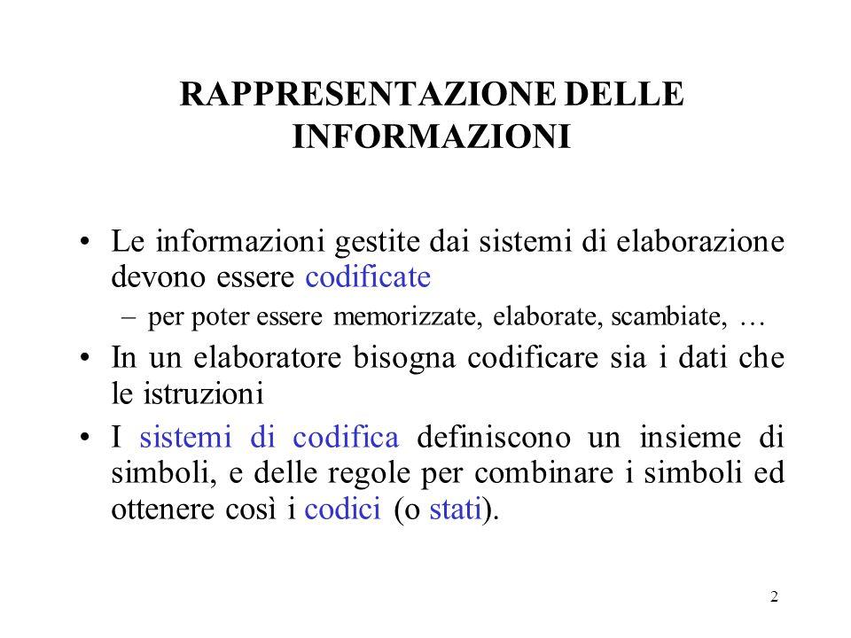 2 Le informazioni gestite dai sistemi di elaborazione devono essere codificate –per poter essere memorizzate, elaborate, scambiate, … In un elaborator